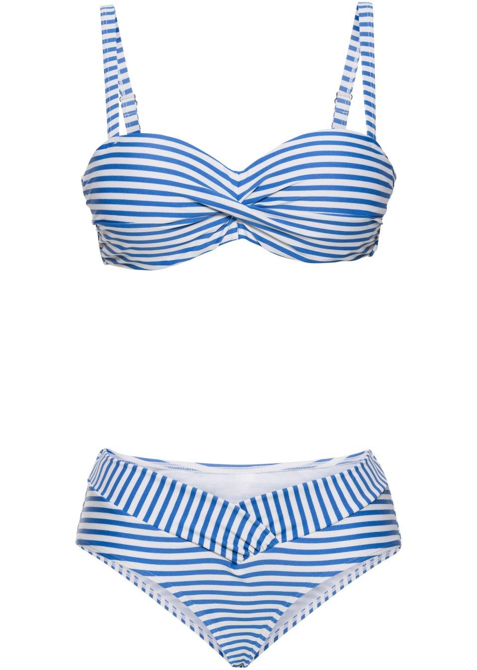 attraktiver balconette bikini mit verdeckten b geln blau wei gestreift cup b. Black Bedroom Furniture Sets. Home Design Ideas