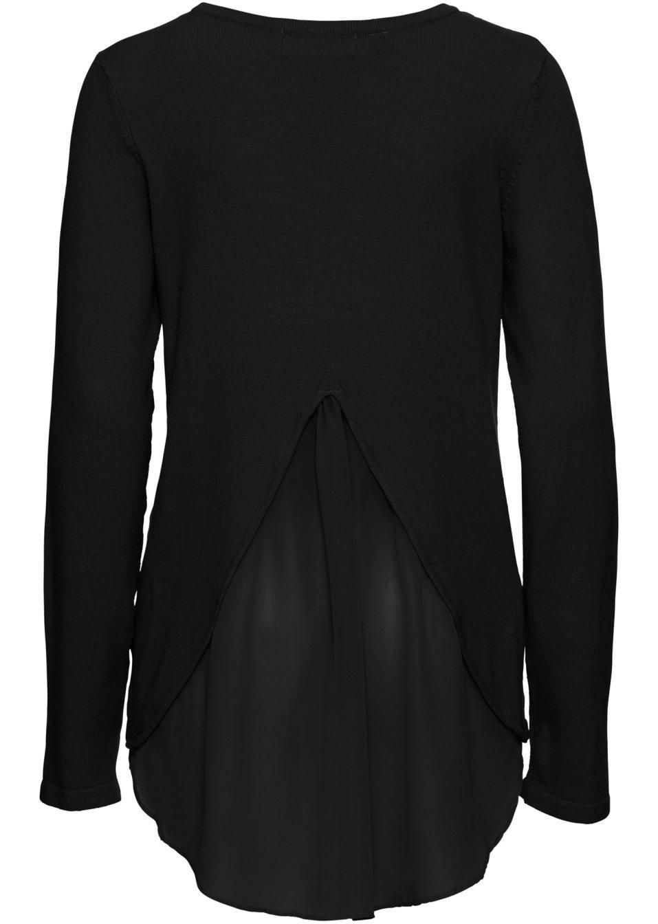 sch ner pullover mit bluseneinsatz aus zartem chiffon schwarz. Black Bedroom Furniture Sets. Home Design Ideas