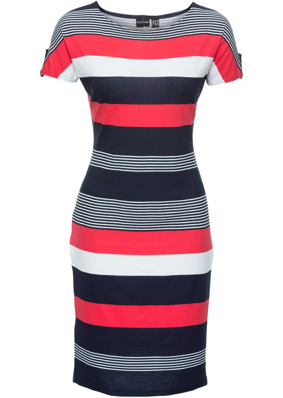 Kleid weiß/rot/marine gestreift - bonprix.at