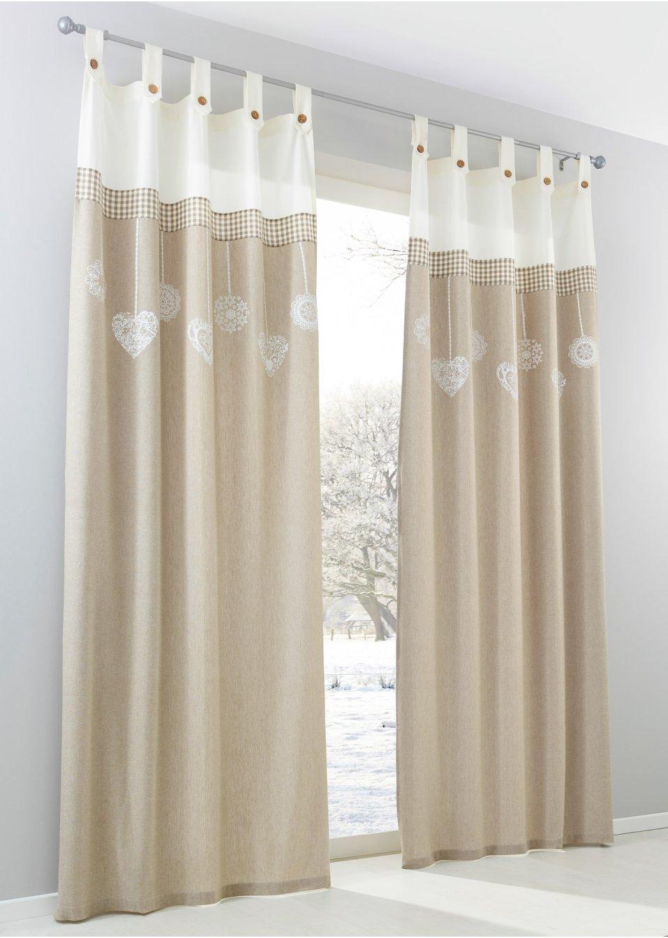 Vorhang talina 1er pack creme natur bpc living for Bonprix vorhang